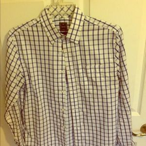 Gap medium button up white and blue